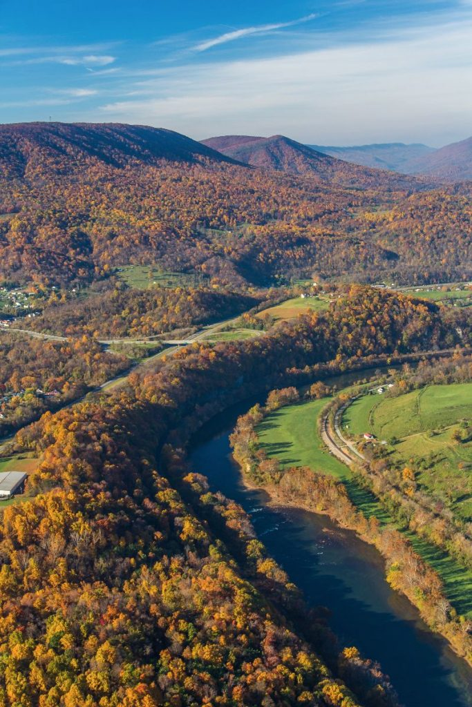 New River aerial in Giles County, VA